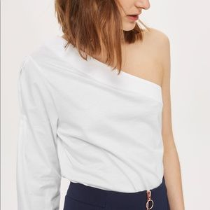 Topshop Tops - Topshop One Shoulder Blouse in Black